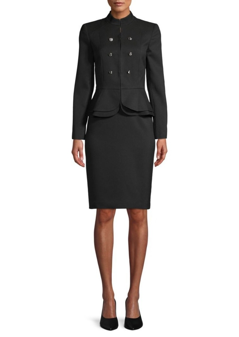 Tahari Arthur S. Levine Peplum Button Skirt Suit