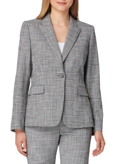 Tahari Arthur S. Levine Plaid One-Button Jacket