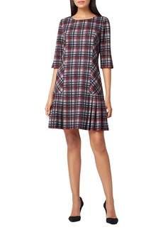 Tahari Arthur S. Levine Pleated Plaid Drop-Waist Dress