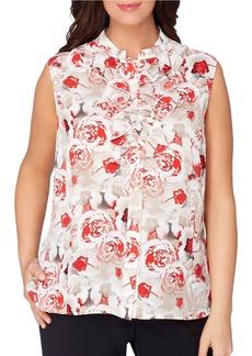 TAHARI ARTHUR S. LEVINE Plus Floral-Print Button-Down Blouse