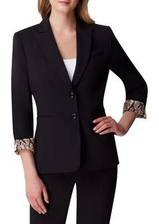 Tahari Arthur S. Levine Printed-Cuff Button Jacket