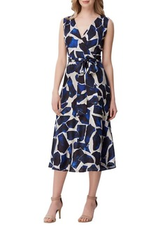 Tahari Arthur S. Levine Printed Faux Wrap Fit-&-Flare Dress