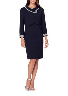 TAHARI ARTHUR S. LEVINE Rhinestone Button Embellished Jacket and Sheath Dress Set