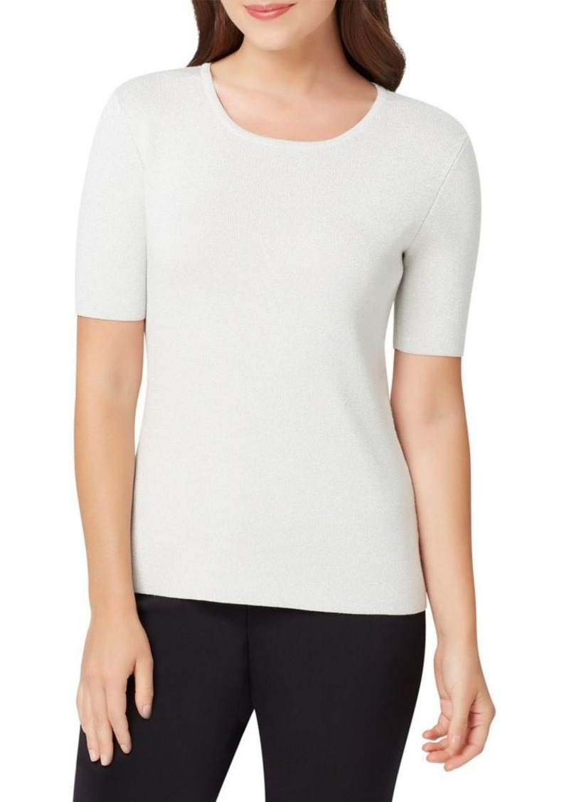 Tahari Arthur S. Levine Ribbed Short-Sleeve Sweater