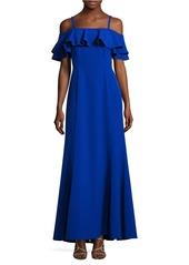 TAHARI ARTHUR S. LEVINE Ruffle Strap Trumpet Dress