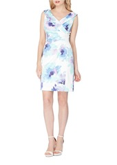 TAHARI ARTHUR S. LEVINE Satin Floral Print Sheath Dress