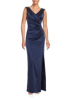 TAHARI ARTHUR S. LEVINE Satin Sunburst Pleated Gown