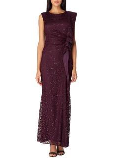 Tahari Arthur S. Levine Sequin Lace A-Line Gown