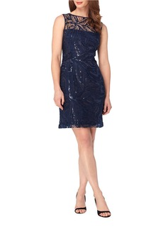 TAHARI ARTHUR S. LEVINE Sequin Novelty Embroidered Sheath Dress