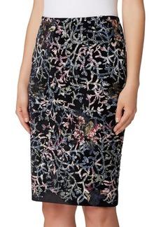 Tahari Arthur S. Levine Sequin Velvet Pencil Skirt