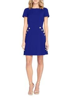 TAHARI ARTHUR S. LEVINE Short Sleeve Button-Accented A-Line Dress