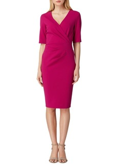 Tahari Arthur S. Levine Short Sleeve Crepe Sheath Dress