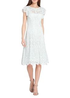Tahari Arthur S. Levine Short Sleeve Fit and Flare Lace Dress
