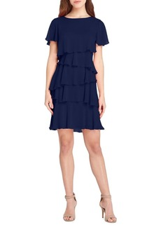 Tahari Arthur S. Levine Short-Sleeve Tiered Shift Dress