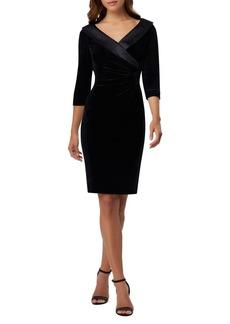 Tahari Arthur S. Levine Side-Ruched Velvet Sheath Dress