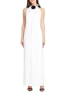 Tahari Arthur S. Levine Sleeveless Crepe Column Gown