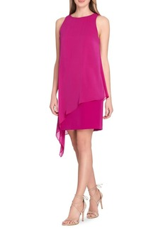 Tahari Arthur S. Levine Sleeveless Crepe Overlay Sheath Dress