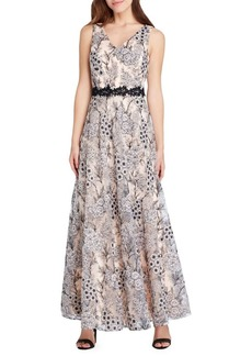 Tahari Arthur S. Levine Sleeveless Embroidered Lace A-Line Gown