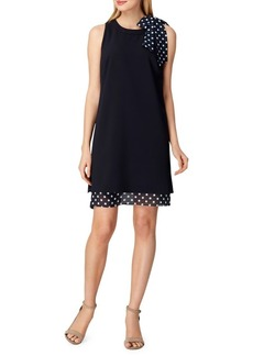 Tahari Arthur S. Levine Sleeveless Polka-Dot Bow Shift Dress