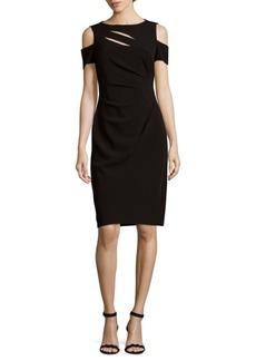 Tahari Slit Front Cold-Shoulder Dress
