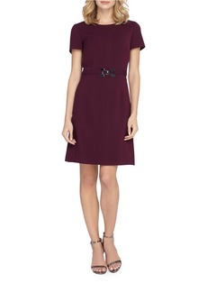 TAHARI ARTHUR S. LEVINE Solid Roundneck Dress
