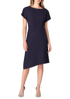 Tahari Arthur S. Levine Striped Asymmetrical Shift Dress