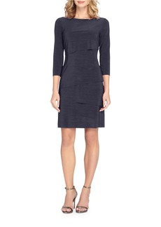 TAHARI ARTHUR S. LEVINE Three-Quarter-Sleeve Tiered Dress