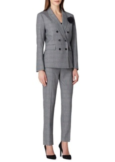 Tahari Arthur S. Levine Two-Piece Floral-Pin Plaid Pant Suit