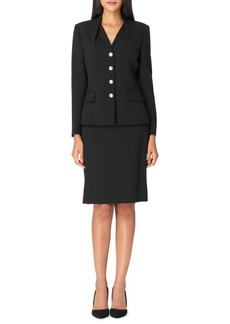 Tahari Arthur S. Levine Two-Piece Inverted-Collar Pebble Crepe Skirt Suit