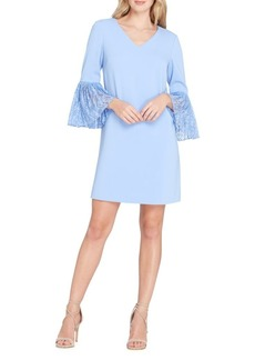 Tahari Arthur S. Levine V-Neck Lace Cuff Shift Dress