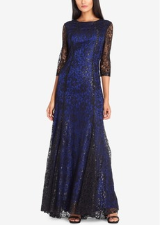 Tahari Asl 3/4-Sleeve Sequined Lace Gown