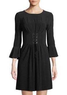 Tahari ASL 3/4 Tulip-Sleeve Lace-Up Front Dress