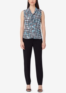 Tahari Asl Abstract-Print Tie-Neck Blouse