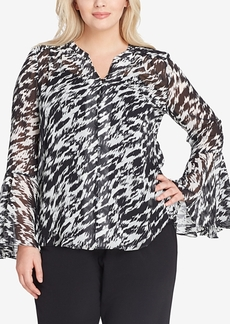 Tahari Asl Plus Size Animal-Print Bell-Sleeve Blouse