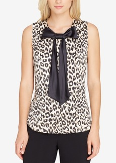 Tahari Asl Animal-Print Bow Blouse