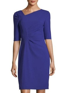 Tahari ASL Asymmetric-Neck Side-Ruched Dress