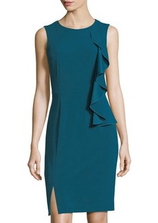 Tahari ASL Asymmetric-Ruffle Sleeveless Scuba Dress