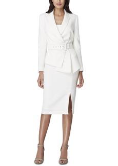 Tahari Asl Asymmetrical Belted Skirt Suit