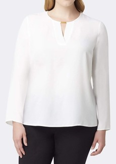 Tahari ASL Bar-Detailed Long Sleeve Blouse Top