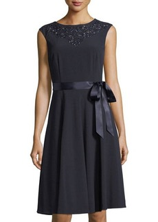 Tahari ASL Beaded A-Line Dress