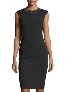 Tahari ASL Beaded-Neck Sleeveless Sheath Dress