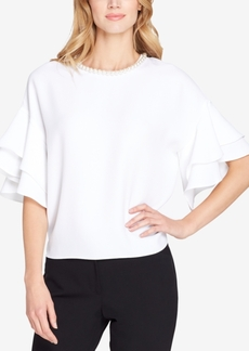 Tahari Asl Beaded Ruffle-Sleeve Blouse, Regular & Petite
