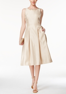 Tahari Asl Beaded Satin Fit & Flare Midi Dress