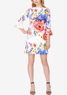 Tahari Asl Bell-Sleeve Floral-Print Shift Dress