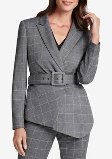 Tahari Asl Belted Asymmetrical-Hem Jacket