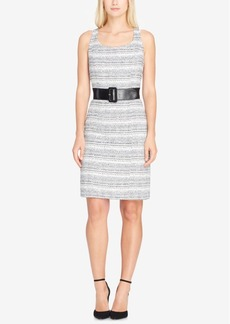 Tahari Asl Belted Boucle Sheath Dress
