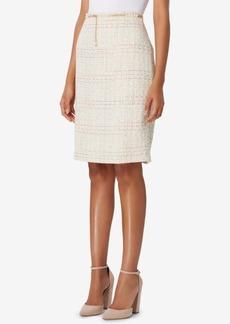 Tahari Asl Belted Boucle Straight Skirt