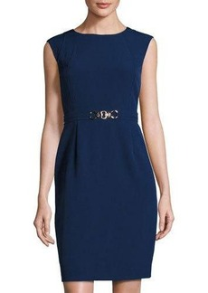 Tahari ASL Belted Cap-Sleeve Sheath Dress