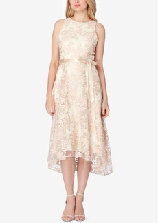 Tahari Asl Belted Embroidered High-Low Dress