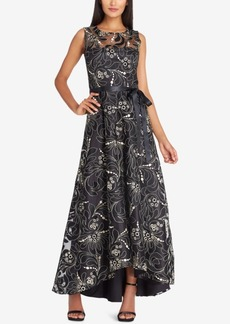 Tahari Asl Belted Embroidered Illusion Gown